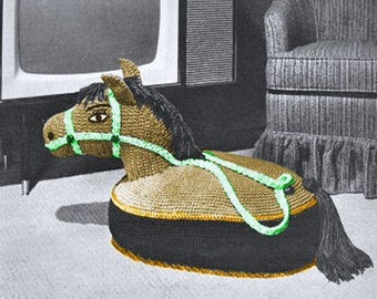 SALE ** Vintage Horse Toy TV Pillow Floor Cushion Sitting or Riding - Crochet Pattern PDF Instant Download