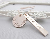 Personalized Rose GOLD Necklace, Rose Gold Tag Necklace, Rose Gold Name Necklace, Rose Gold Date Necklace
