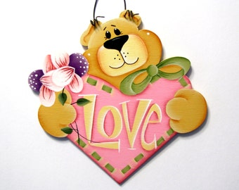 Bear with Heart Sign, Handpainted Wood, Home Decor, Wall Art