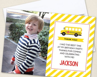 School Bus Photo Thank You Cards - Professionally printed *or* DIY printable