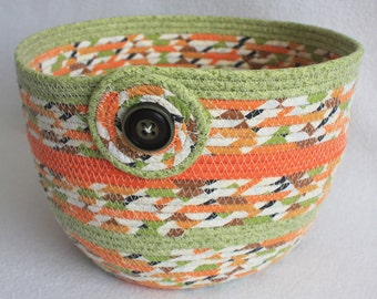 Rope Coiled Basket / Coiled Fabric Boho Plant Pot / Knitting Basket / Orange Green Brown Striped Extra Large Round by PrairieThreads