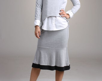 SALE / Fishtail Skirt- Heather Gray and Black Jersey