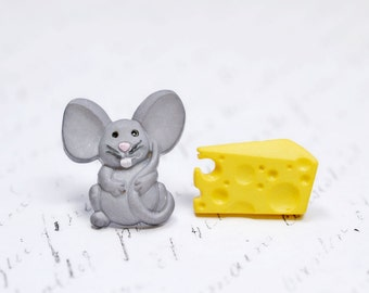 Cute Mouse and Cheese Earrings, Animal Lover Earrings, Adorable Grey Mice, Yellow Swiss Cheese Asymmetrical Earrings