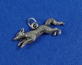 Running Fox Charm - Silver Plated Running Fox Charm for Necklace or Bracelet