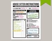 house sitter's instruction worksheet