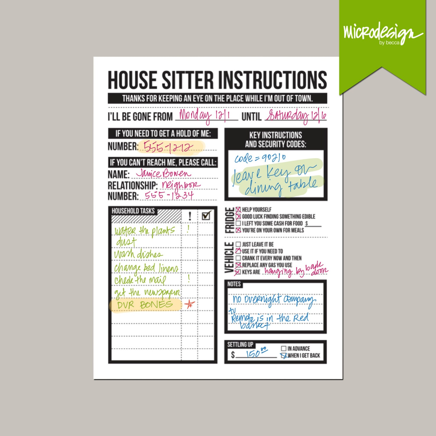 House sitter 39 s instruction worksheet for House siting