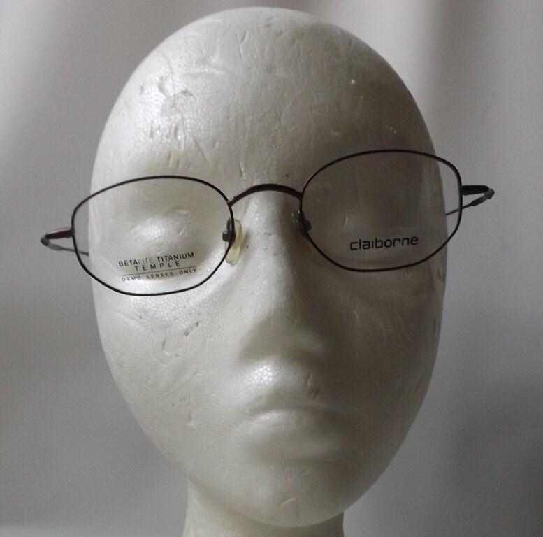 vintage 1990\'s NOS liz claiborne eyeglasses burgundy red metal wire ...