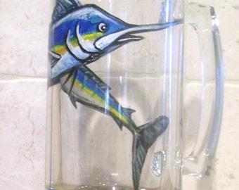 Marlin Beer Mug Glass Hand Painted Sport Fish (Custom Order Only)