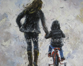 Mother and Son Art Print, first bike ride, mom, boy, aunt, nephew, boys room, wall art, gift for parent, black, gray, navy, Vickie Wade