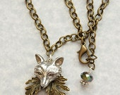 Silver Fox Pendant with a Bronze Leaf and Chain. Woodland Jewellery and Boho Charm Necklace.