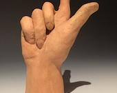 Hand Made Left Hand Sculpture Figure Art Fragment Garden Art Open Palm