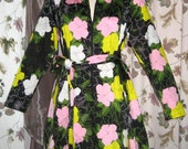 70er Jahre David Brown Mod großen floralen Print Kleid - Reißverschluss vorne Vintage