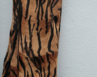 Tiger print soft faux / fake fur caramel and black long style scarf o.o.a.. unique handmade in UK