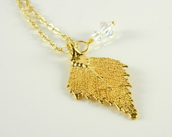 Little Gold Birch Leaf Pendant on 18 inch Chain Necklace, Gilded Leaf Necklace, Real Plant Necklace