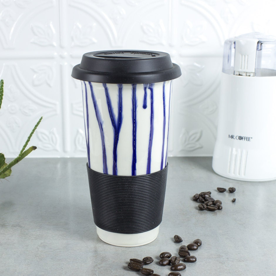 Ceramic Coffee Travel Mug Blue Drips Blueroompottery W Black
