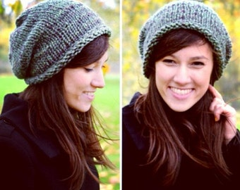 Slouchy Beanie, Womens Hat, Mens Hat, Hnd Knit Hat, Fall Fashion, Winter Accessories, Green and Brown