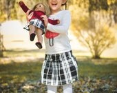 Christmas Outfit. American Girl Matching Plaid Taffeta Skirts for Girl and Doll. Size XS, Small, Medium, Large