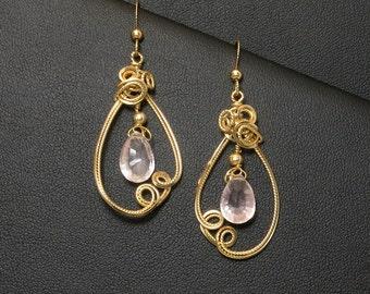 Pink Rose Quartz Gemstone Gold Earrings, Elegant Asymmetrical Wire Sculpture Pink Dangle Earrings, Wedding Jewelry