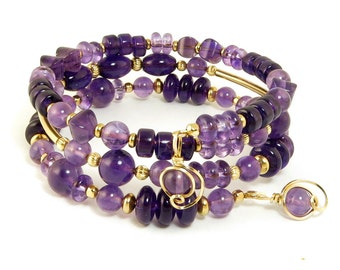 Purple Amethyst Gemstone Gold Bracelet, Genuine Amethyst Memory Wire Bracelet