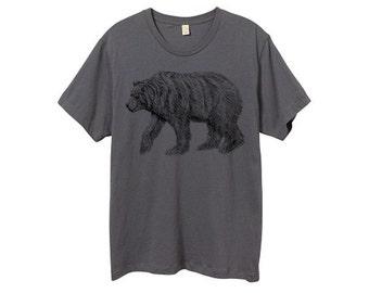 Mens Grizzly Bear Shirt - Custom Color Tshirt - Gray Bear Shirt - Small, Medium, Large, XL, 2XL - Guys Bear Shirt (14 Color Options)