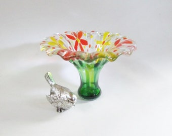 Fused GLass Art Vase with FLowers in Yellow and Orange // Fun // Bright // Spring//  Summer// Sunshine// Garden// Mothers Day// Gift for Her