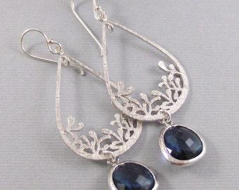 Sapphire Lace,Earrings,Sapphire Earrings,Silver Earrings,Sterling Silver,Bride,Navy,Wedding,Blue Stone,September Brithstone.Valleygirldesign