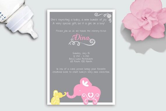 Elephant Baby Shower Invitation Deposit