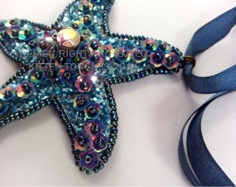 Starfish Choker Necklace - Ready to Ship - Blue with red golds