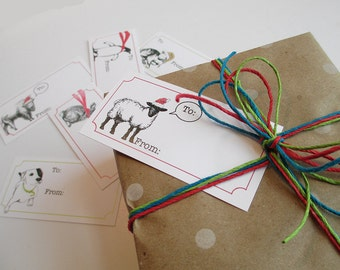 Holiday gift tags with cute animals in hats and scarves. Holiday tickets or coupons. Packet of 12, your choice of 6 animal designs