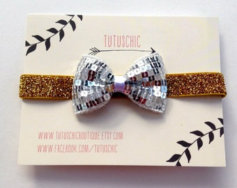 Sequin bow glitter stretch headband for girls, baby or women Red or silver bow on silver, black or gold glitter stretchy bands Baby headband