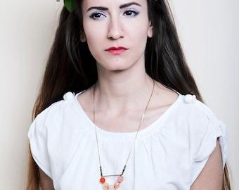 Orange Carnelian Necklace, Arc Necklace, Brass Statement Gemstone Necklace, , Boho Necklace, Carnelian Jewelry