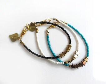 Star Beaded Boho Bracelet, Dainty Bracelet, Custom Initial Personalized Bracelet