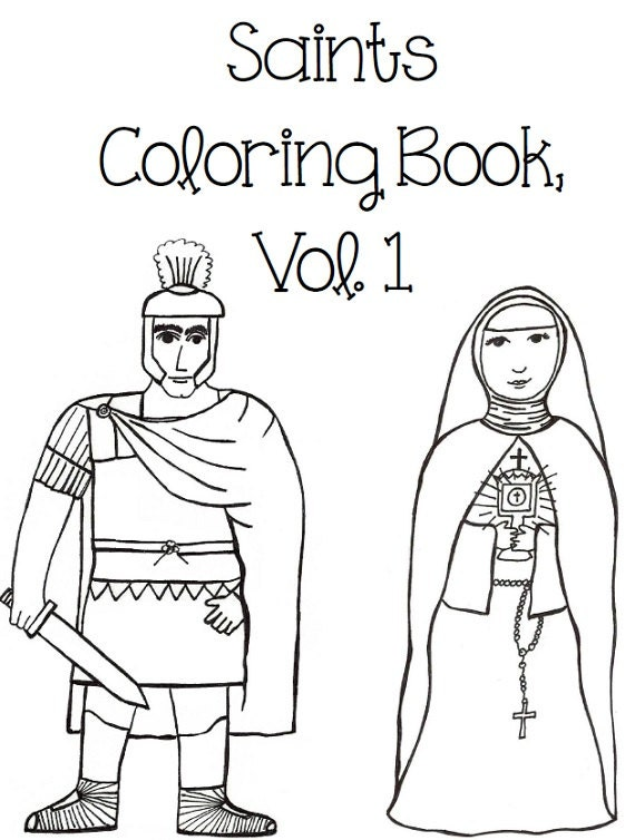 Catholic Saints Coloring Book Vol 1 By Paperdali On Etsy