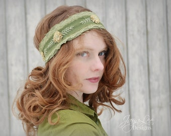 Spring Flower Headband - Green and Yellow - Embroidered Headband