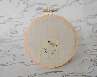 budgie bird embroidery hoop wall art