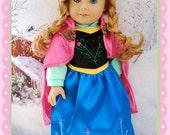 "SALE-American Girl 18"" Doll Frozen Anna Dress"