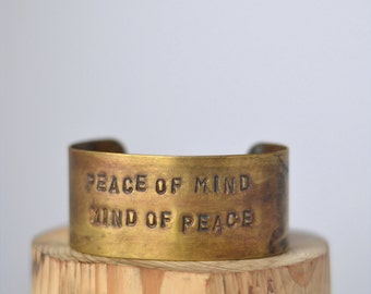 Price Redux peace of mind handstamped CUFF/BRACELET