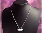 Opalite crystal point necklace, double terminated gemstone,