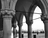 Fine Art Photography, Doge's Palace on St Mark's Square, Venice, Italy, morning sunrise, black and white, 8x12 shown