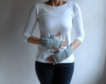 Knit fingerless Gloves in Light Gray,Winter Accessories, Christmas Gift