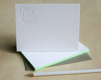 Letterpress Stationery - Bless Your Heart Thank You Notes, Edge Painted Stationery, Letterpress Notecards