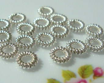 925 Sterling Silver Beautiful Coiled Spacer,So Pretty, Save, Bulk 10 pcs, 1.5x5 mm - A