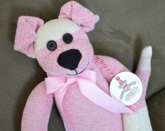 Puppy Dog Sock Monkey Doll in Pink