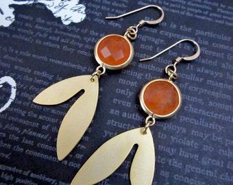 Orange Leaf Earrings -- Orange Dangle Earrings -- Gold Leaf Dangle Earrings -- Orange and Gold Earrings
