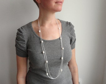 Double chain necklace large white pearls necklace layered chains minimalist elegant necklace