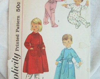 Simplicity 2290 Toddler Pajamas and Robe Vintage Sewing Pattern Size 2
