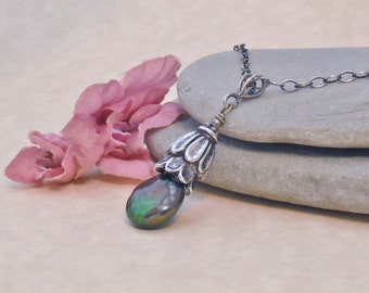 Necklace Dark Forest Green Freshwater Coin Pearl Sterling Silver Necklace