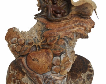 Eve and The Serpent Rick Cain Original Fine Art Hand Carved Wooden Spiritual Sculpture 2014