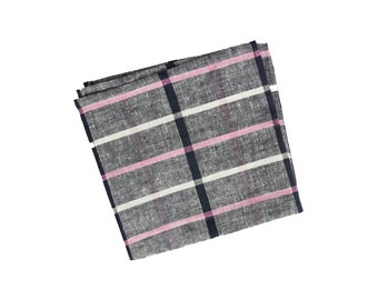 Andie - Gray/Pink Plaid Linen Pocket Square