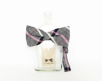 Andie - Gray/Pink Plaid Linen Men's Pre-Tied Bow Tie or Self-Tied Bow Tie